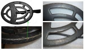 Detailaufnahmen von Garrett ACE-Suchspulen die ohne Spulenschutz benutzt wurde